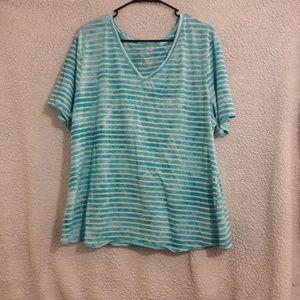 Blue tie dye striped shirt